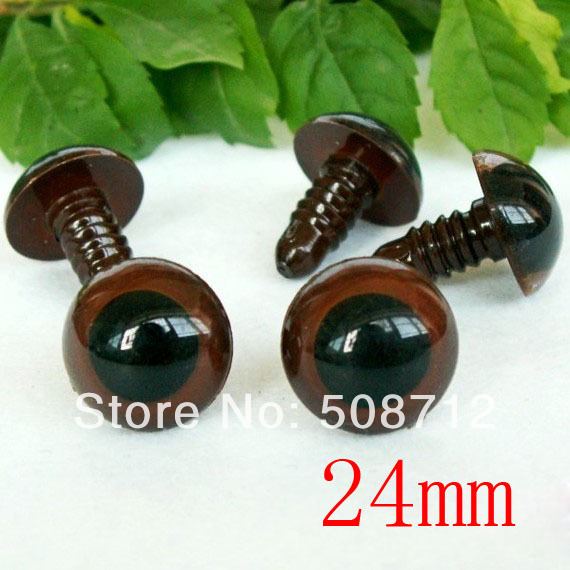 fress ship!!!30Pairs - Brown - Colored Safety Eyes / Plastic Eyes---24mm