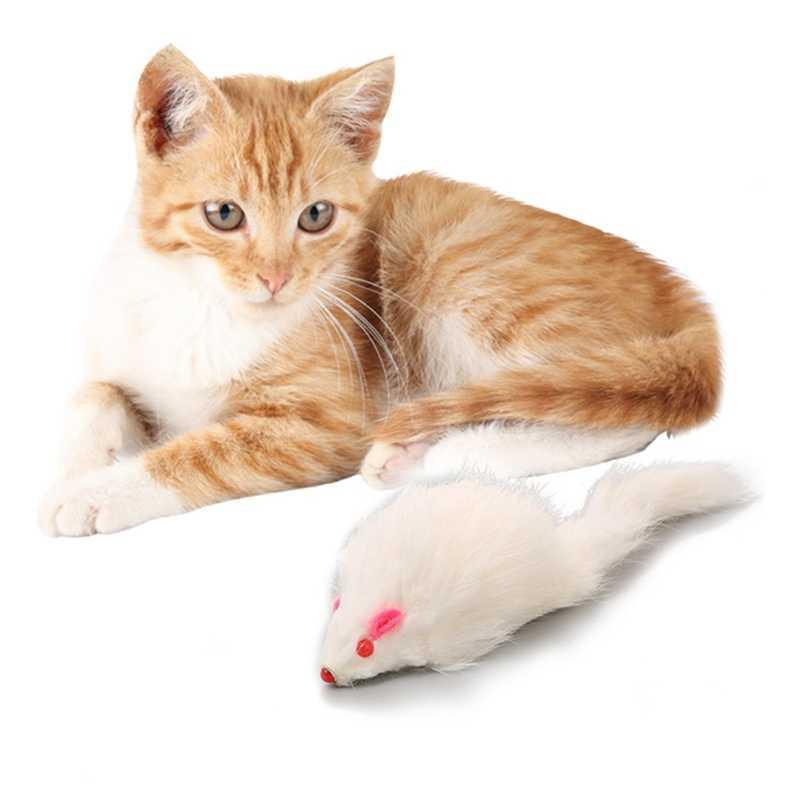 1 pcs 18cm 고양이 애완 동물 장난감 진짜 모피 고양이 긴 머리 꼬리 깃털 마우스 마우스 토끼 고양이 개 장난감
