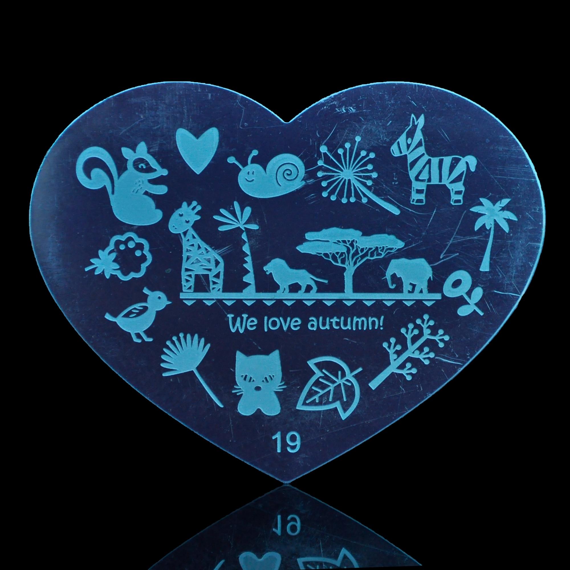NºAnimal zoo y hojas DIY plantilla de diseño de uñas metal corazón ...