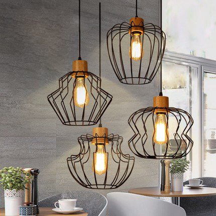 Nordic Modern Single Droplight American Metal Hanging Lamps Home Indoor Dining Room Restaurant Cafes Pub Pendant Lights Fixture