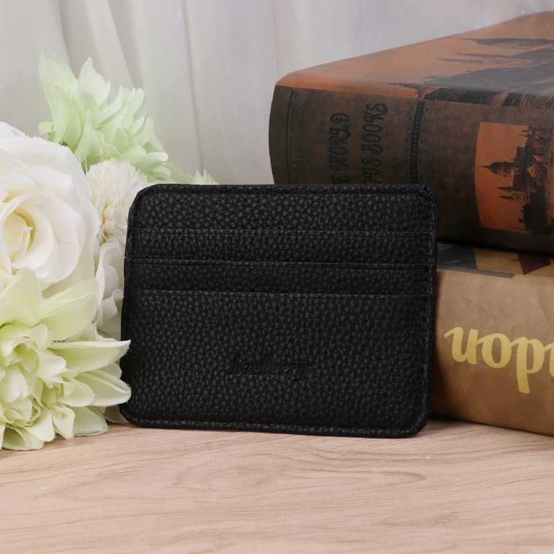 1 unidad de bolsillo de negocios para hombres Delgado ID tarjeta de crédito dinero titular de la cartera