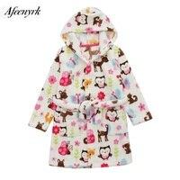 Autumn Winter Baby Flannel Robe Bathrobes Kids Cartoon Sleepwear Hooded Baby Robes Boys Girls Pajamas Thickening