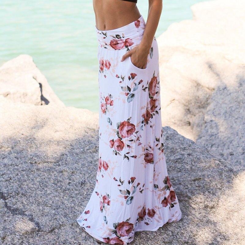 Women's Clothing Women Summer Beach Floral Skirt Long Loose Skirts Elastic Waist Maxi Dress L