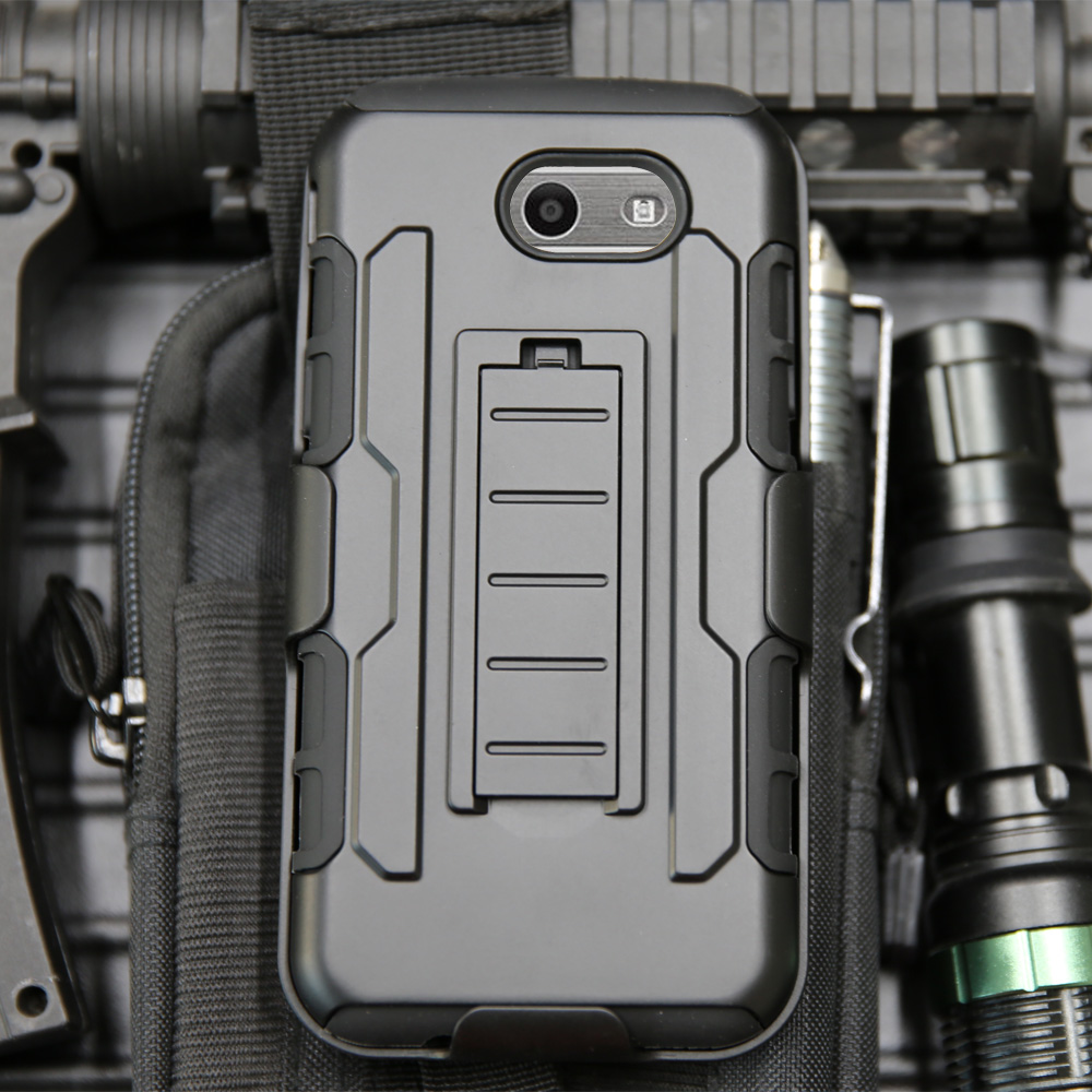 For Samsung Galaxy J3 Emerge/Prime/Galaxy J3 2017/J3 Eclipse Heavy Duty Hybrid Rugged Case Holster Belt Clip Cover