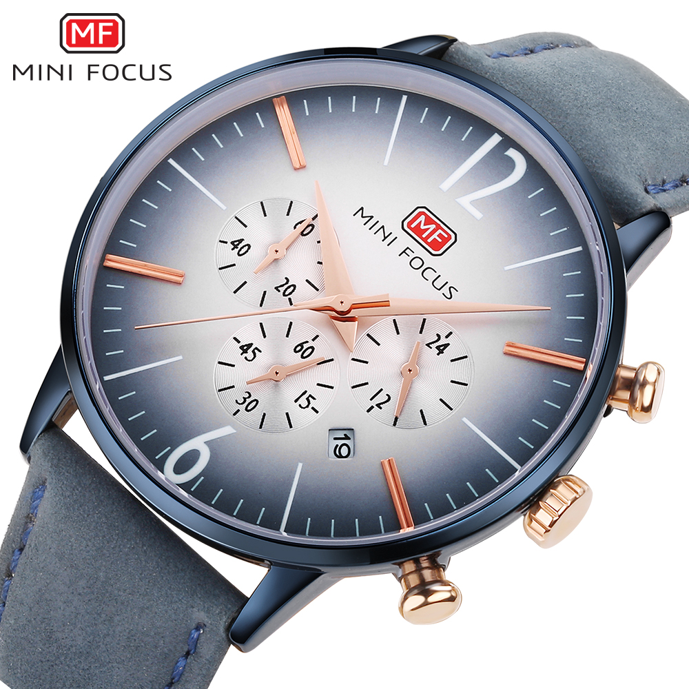 New Luxury Brand MINIFOCUS Men Sport Watches Men's Quartz Clock Watch Man Army Military Leather Wrist Watch Relogio Masculino xinge top brand luxury leather strap military watches male sport clock business 2017 quartz men fashion wrist watches xg1080