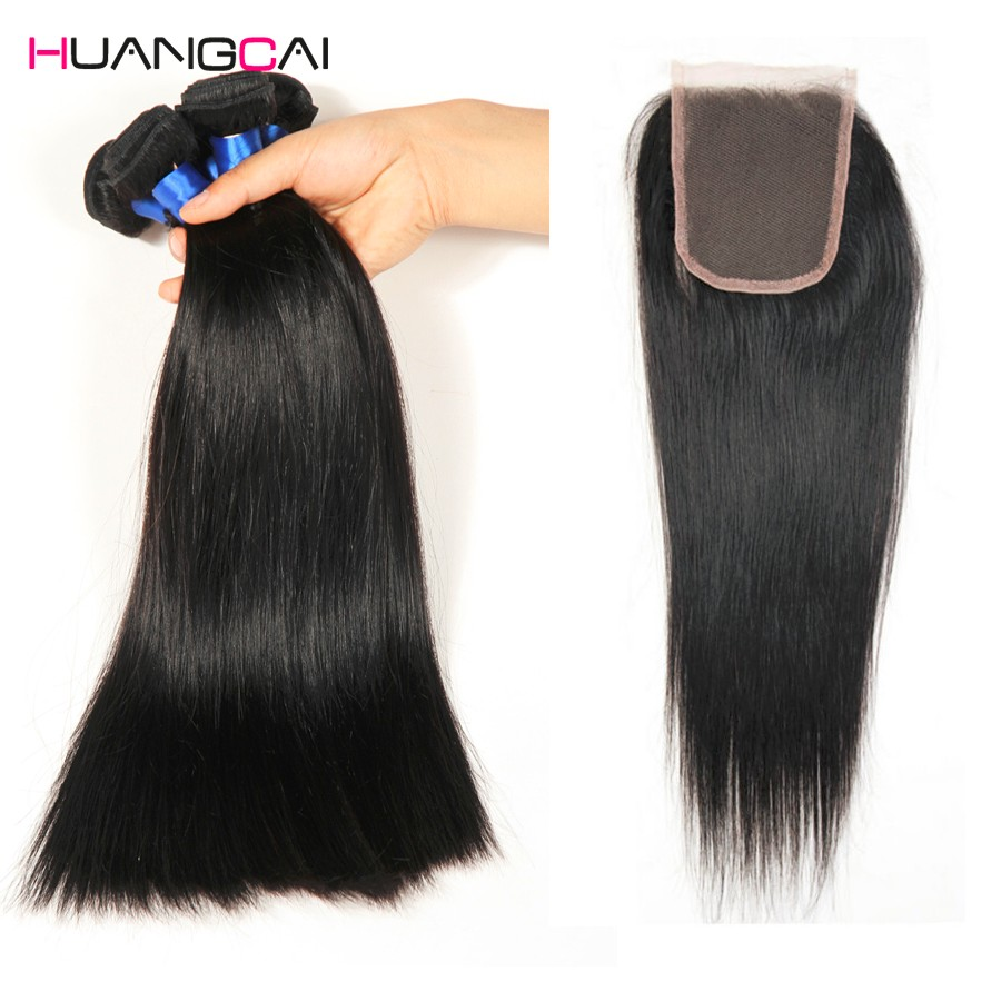 HuangCai Brazilian Straight Hair With Closure 100 Human Hair 3 Bundles With Lace Closure Non Remy