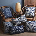 Синий фарфор узор китай декоративные / лен хлопок диванную подушку / автомобиль подушками