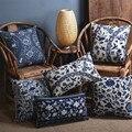 Blue  porcelain Pattern China Flower Decorative Pillow  /Linen cotton sofa cushion /Car throw pillows