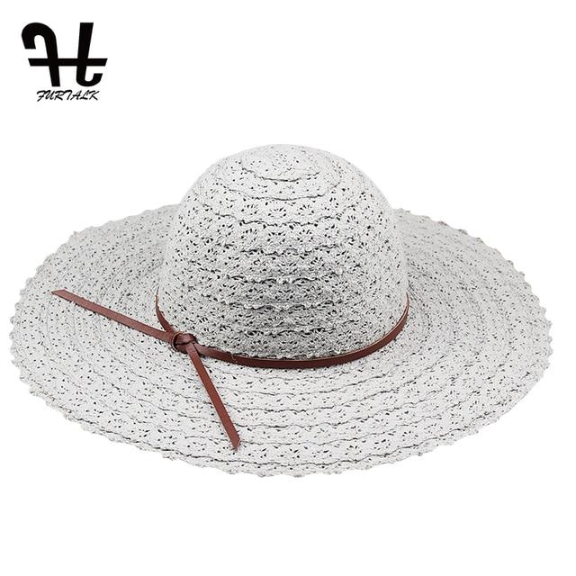 e12cf867229ad6 ... FURTALK Foldable Cotton Beach sun hats for Women Fashion Design Women  Beach Sun Hat Foldable Brimmed Straw Hat. 🔍 Previous. Next