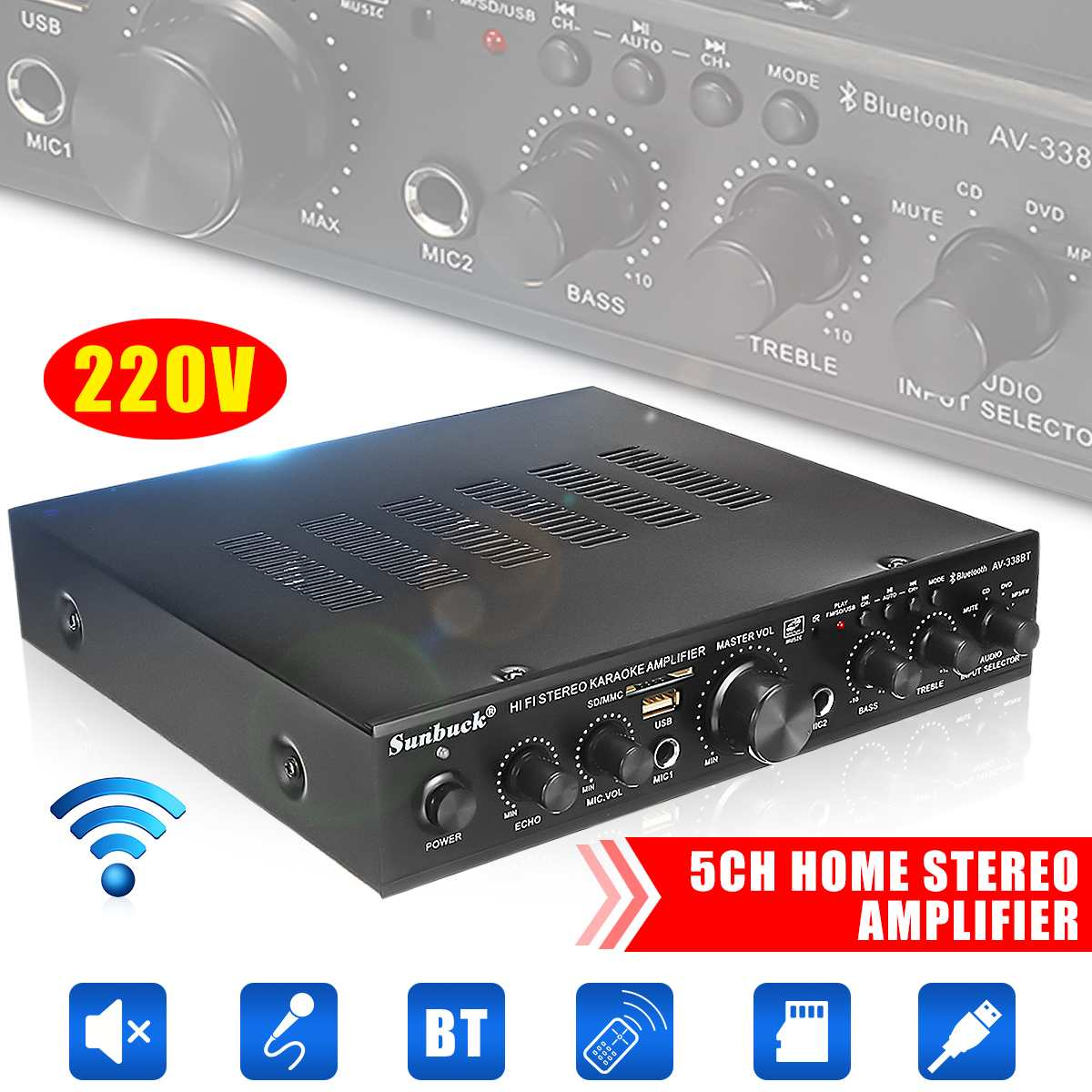 600W Home Amplifier 5.1 Home Amplifiers Audio Hifi Bass Audio Power Amplifier Home Theater Amplifier For Subwoofer