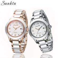 SUNKTA Fashion Watch Women Brand Luxury Stainless Steel Ladies Quartz Watch Reloj Mujer 2019 Rose Gold Bracelet Women Watches hot sale top luxury gold watch fashion long leather bracelet watch women watches ladies bangle quartz watch hour reloj mujer