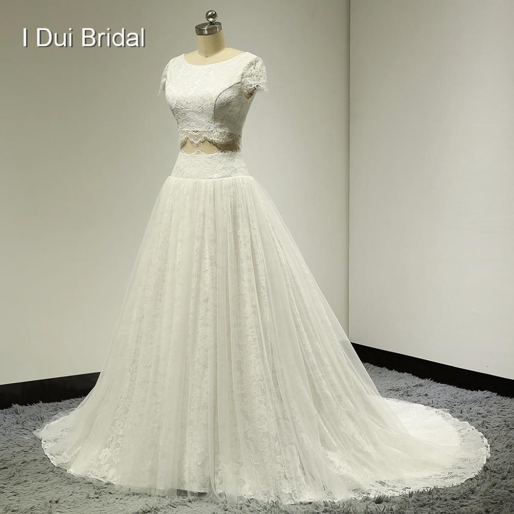الرباط أعلى محصول فساتين الزفاف الصورة الحقيقية الحلو ستة عشر فساتين قصيرة الأكمام ثوب الزفاف نمط جديد ELS-005