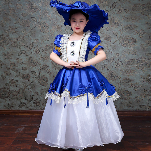 Customized Blue Red Children Birthday Party Dresses Lace Short Sleeve Royal Stage Performance Ball Gowns Kids Costumes