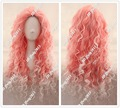 "Free shipping 28"" Long Spiral Curly Pink With White Wig No Bang Heat Resistant CC196+a wig cap"