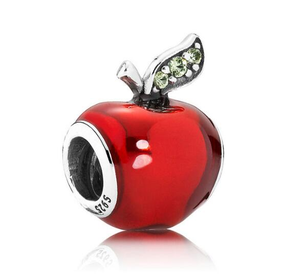 Authentic 925 Sterling Silver Bead Charm Red Enamel Snow White's Apple Beads Fit Pandora Bracelet & Necklace Diy Jewelry