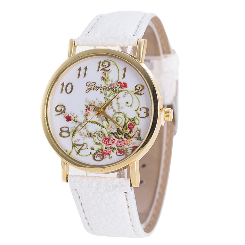 Geneva Watches Women Fashion Flowers bracelet Watches Sport Analog Quartz Wrist Watch top brand luxury relojes mujer montres(China)