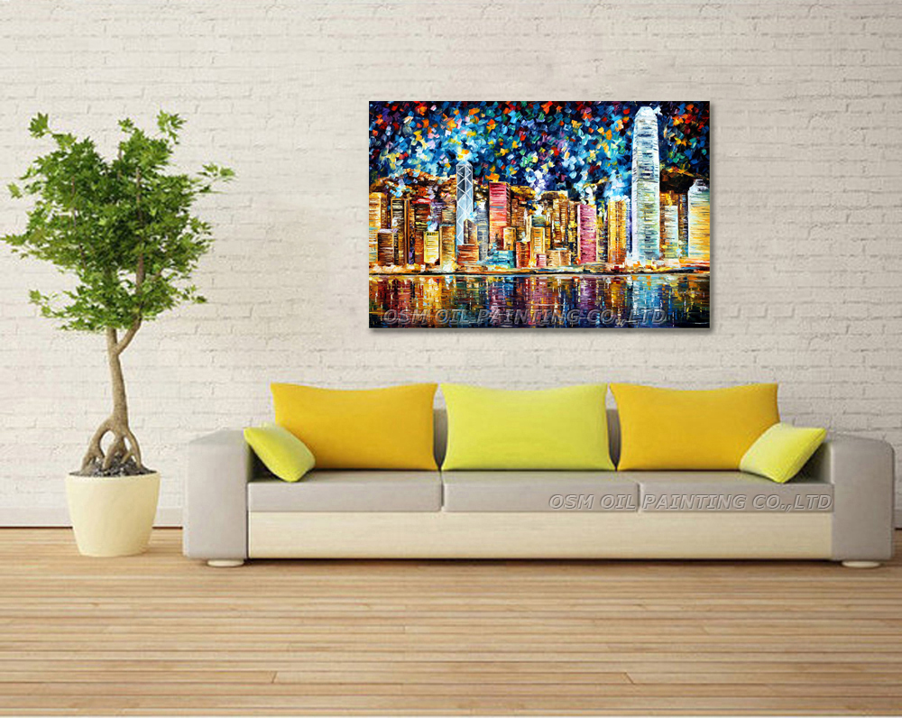 Hand painted Modern Hong Kong Streetscape Oil Painting for Wall ...