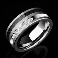 2018 Special Design High Polished Man's Tungsten Rings 8mm Width Inlay Black Carbon Fiber and White CZ Stones Size 7 11
