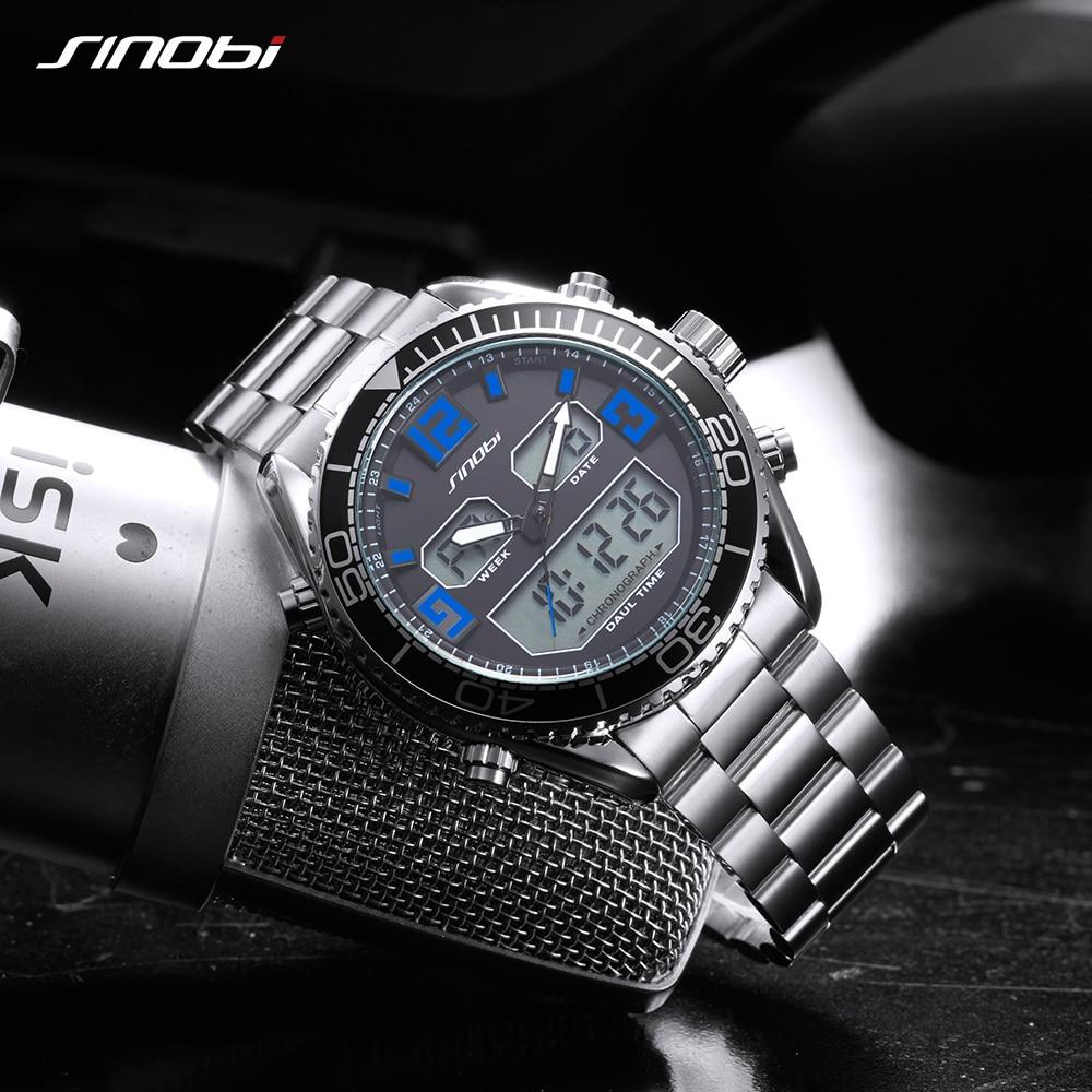 SINOBI sportski modni sat muškarci dvojni zaslon analogni digitalni - Muški satovi - Foto 6
