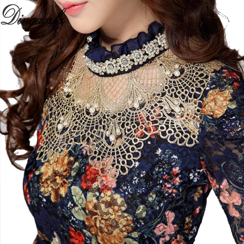 Dingaozlz Women's Lace shirt female Lace Blouses long-sleeve Hollow Floral Lace Tops Slim Elegant Beaded Gauze Chiffon shirts
