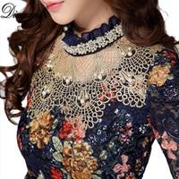 2014 Women S Lace Shirt Female Lace Blouses Long Sleeve Hollow Floral Lace Tops Slim Elegant