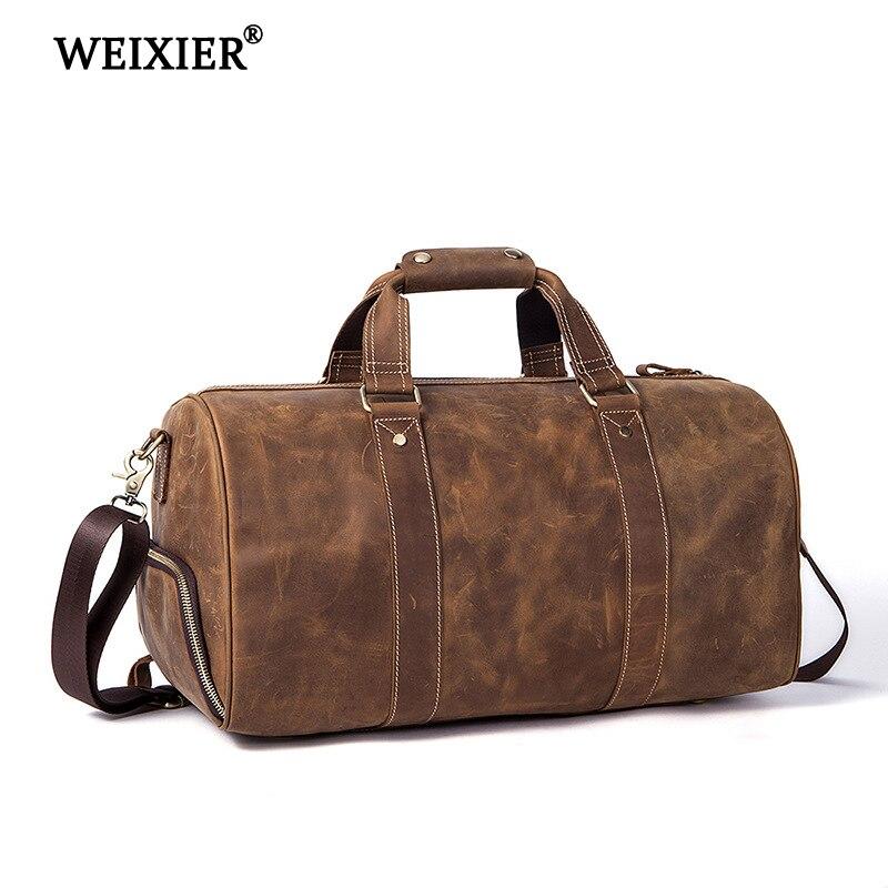 WEIXIER/Новинка 2019, мужская сумка из натуральной кожи Crazy horse, винтажная сумка для путешествий, сумка для багажа, большая дорожная мужская сумка