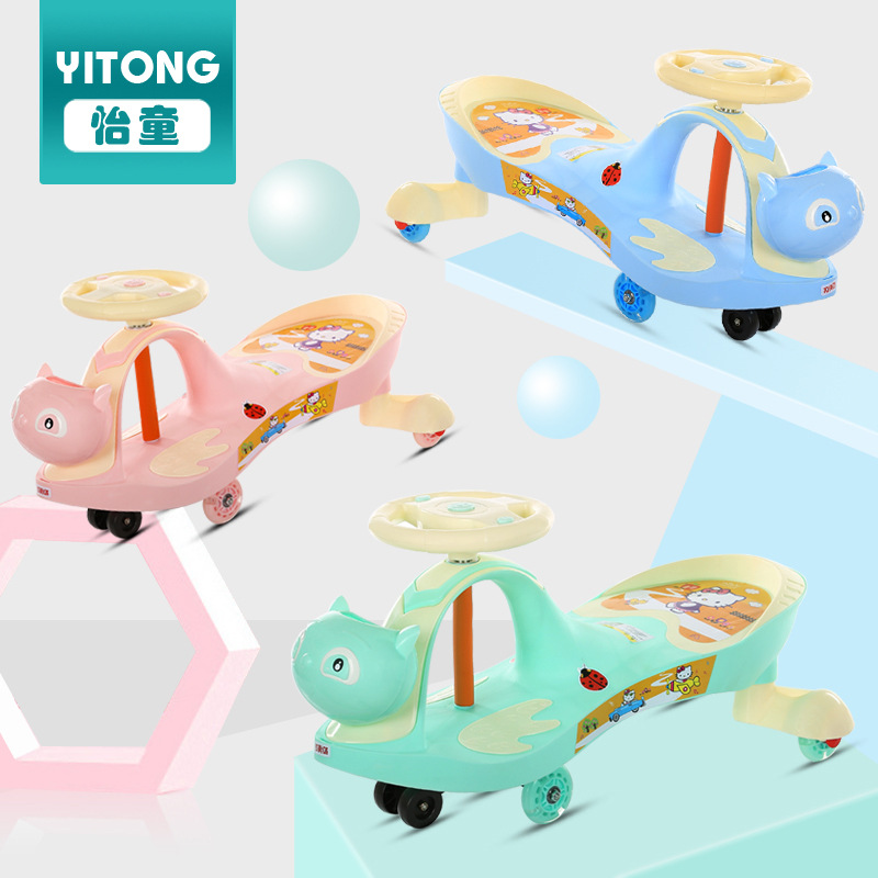 Фото Children 1-3-6 Years Old Baby Scooter Twist Car Toy Swing With Music Girl Yo Mute Wheel