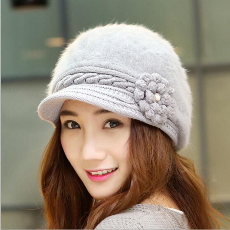 2015 New Fall Hats For Women Cute Winter Hat Female Knit Beanie Flowers  Rabbit Fur Crochet Cap Beret Warm Beauty Girls SK80008-in Berets from  Apparel ... 7ebfd876d1d