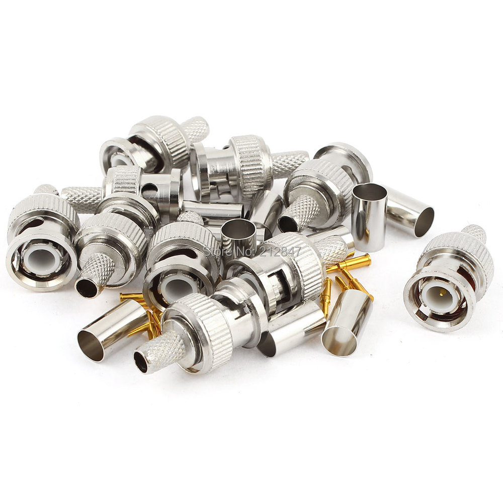 10 Pcs BNC Male RG59 Coaxial Crimp Connector Adapter Set for CCTV camera bnc м клемма каркам