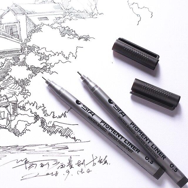 1-Piece Pigment Liner Pigma Micron Ink Marker Pen 0.05 0.1 0.2 0.3 0.4 0.5 0.6 0.8 Different Tip Black Fineliner Sketching Pens 2