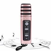 Anskp Mini Wired Handheld Karaoke Microphone Stereo Live Streaming Handheld Wired Karaoke Micrphfone Speaker Party KTV Home