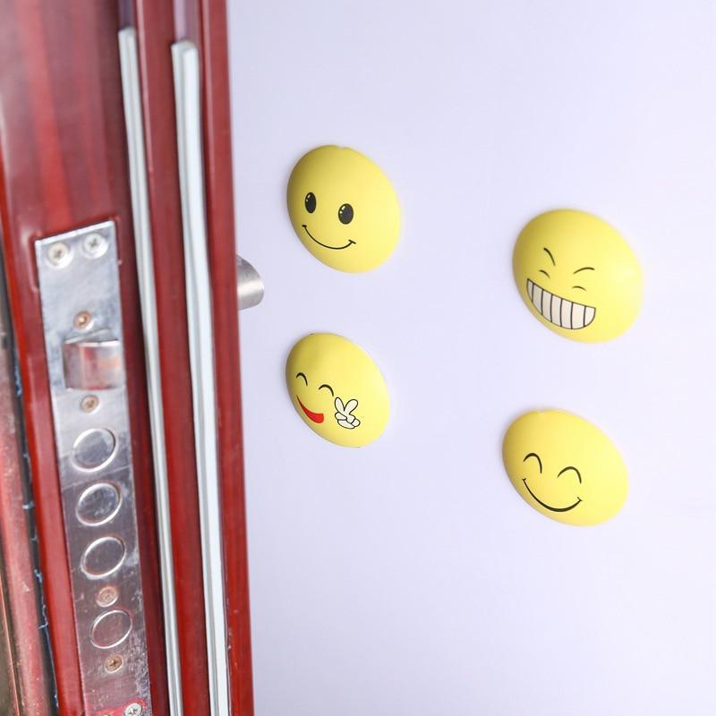 4pcs Rubber Door Handle Knob Smile Face Emoji Sticker Crash Pad Wall Protector Bumper Guard Anti Collision Stopper Hg99 Furniture