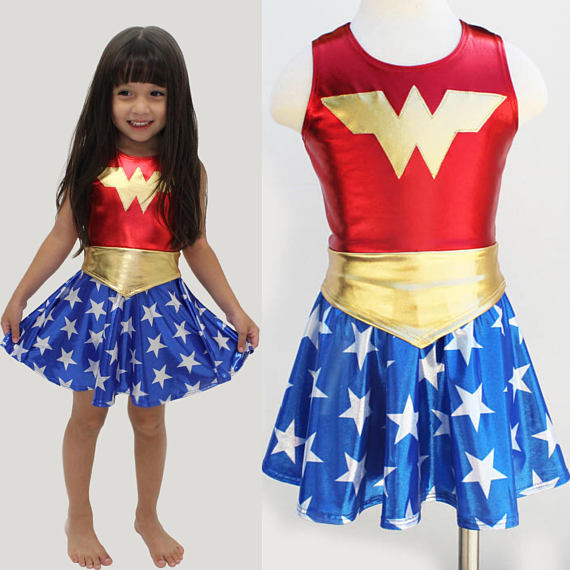 New Deluxe Wonder Woman Movie Costume for Kids Halloween Costume for (3-9Years)Girls Party Dress