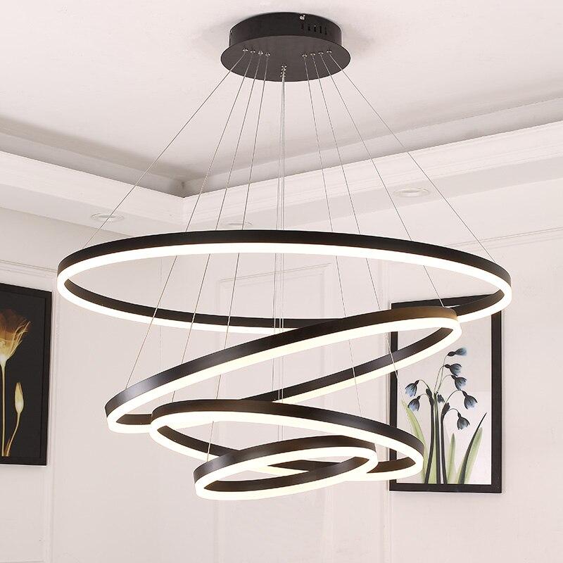 Blanc/Noir pendentif lumières pour salle à manger chambre maison Intelligente éclairage luminaire suspension lamparas de techo colgante moderna
