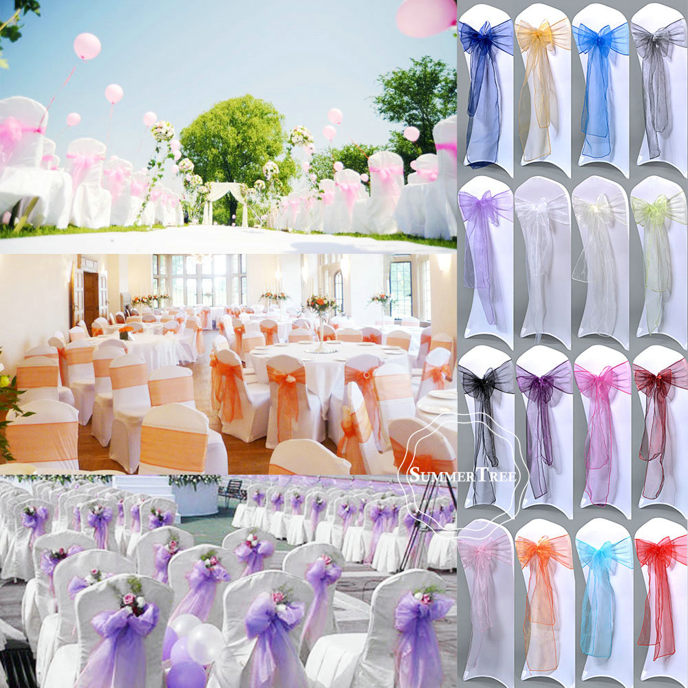 100pcs pack 275cm Sheer Organza Chair Sashes Bow Cover Wedding party Xmas Birthday Shower Decoration