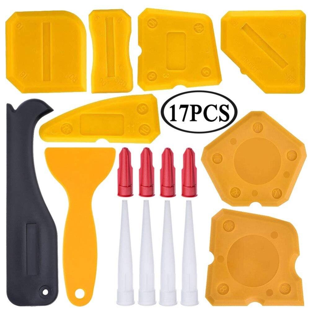 17 Pieces Caulking Tool Kit Silicone Sealant Finishing Tool Grout Scraper Caulk Remover And Caulk Nozzle And Caulk Caps