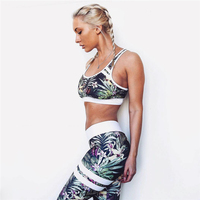 2017 New Women Digital Floral Printed Fitness Leggings Skinny Workout Clothing Short Sporting Movement Crop Tops