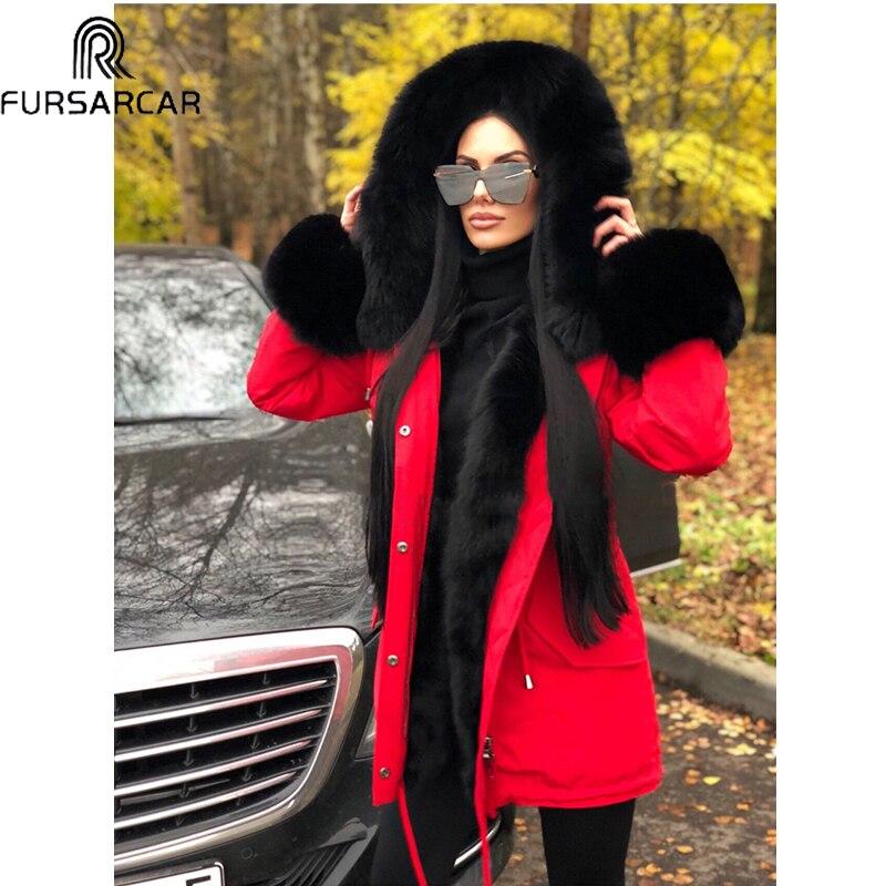 Lapin Mode Veste Femmes Fourrure La Et Plus D'hiver Parkas Parka Col Fursarcar Rouge Taille Capot Doublure Naturel 2018 De Renard Épais ZwBqxRR8