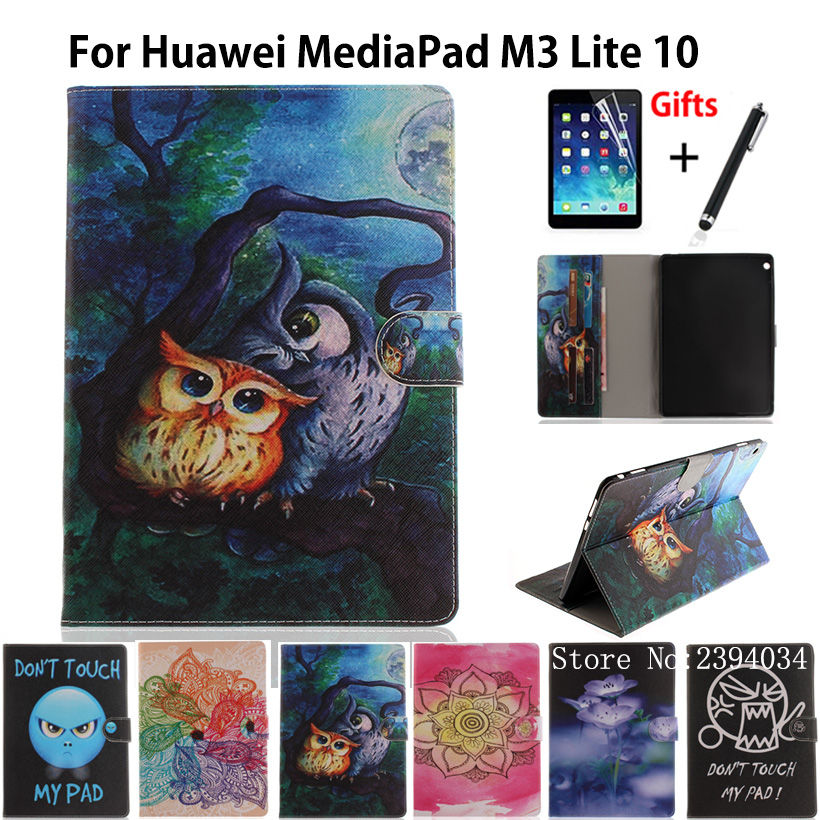 Tablet Case For Huawei MediaPad M3 Lite 10 10.1 BAH-W09 BAH-AL00 BAH-L09 Cover Funda Painted PU Leather Stand Shell+Film+Pen touchpad keyboard case for huawei mediapad m3 lite 10 bah l09 tablet pc for huawei mediapad m3 lite 10 bah l09 keyboard case
