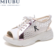MIUBU Fashion Summer Womens Sandals Casual Mesh Breathable Shoes Women Ladies Wedges Lace Platform Sandalias