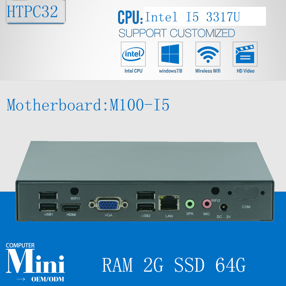 Fanless pc industrial computer with 6*USB 2.0 Dual Gigabit Lan  HDMI Auto Boot Intel  Core i5 3317U With RAM 2G SSD 64G  new thin client computers with 4 gigabit ethernet lan 1 7g dual core 4g 500g fanless industrial pc x86 network security