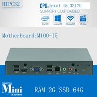 Sin ventilador pc industrial con 6 * USB 2.0 Dual Gigabit Lan HDMI Auto arranque Intel Core i5 3317U con RAM 2 G SSD 64 G