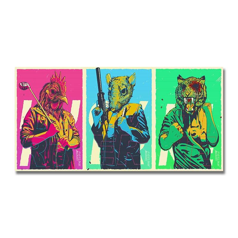 Художественный шелковый или холщовый принт Горячая линия Майами Горячая игра постер 13x27 24x48 дюймов для украшения комнаты 007|Рисование и каллиграфия| | АлиЭкспресс