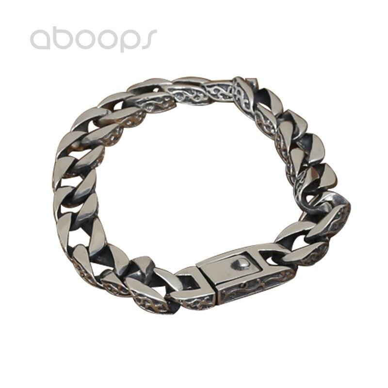 10 мм ширина Винтаж холодный черный 925 серебряный браслет из звеньев для мужчин 18 20 см Бесплатная доставка