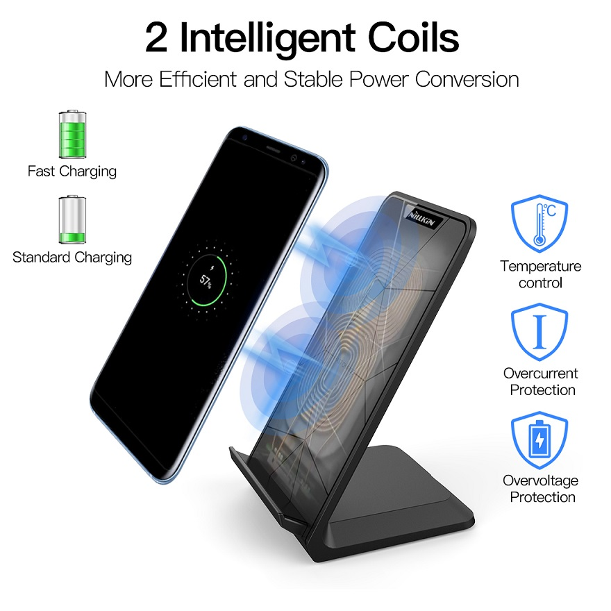 Image 2 - NILLKIN Fast 10W Wireless Charger,Qi Fast Wireless Charging Pad Stand for iPhone XS/XR/X/8/8 Plus For Samsung Note 8/S8/S10/S10E-in Mobile Phone Chargers from Cellphones & Telecommunications
