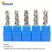 Free Shipp5Pcs 3F D12 0X75L HRC50 Aluminum Carbide End Milling Cutter 3 Blade Flat Tungsten Steel