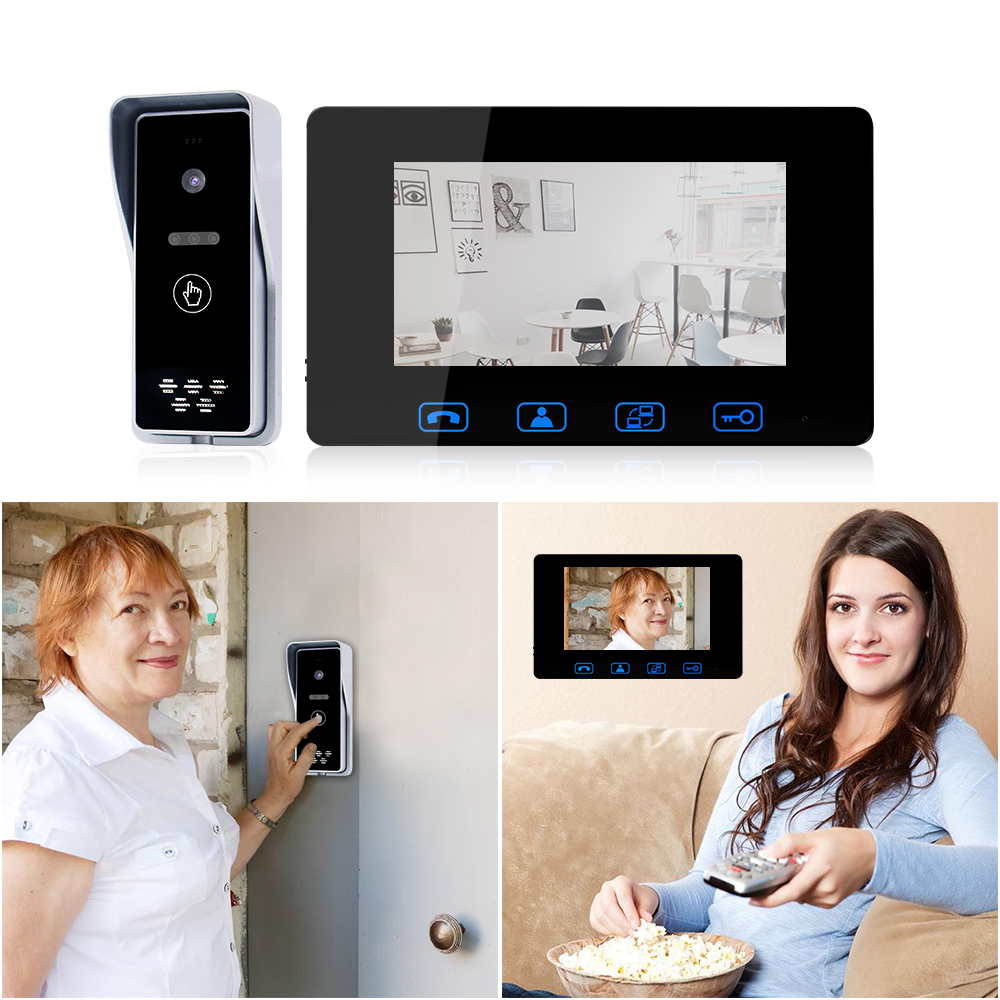 """Image 2 - Wired Video Door Phone 7""""Color LCD With Waterproof Digital Doorbell Camera Viewer IR  Night Vision Intercom System-in Video Intercom from Security & Protection"""