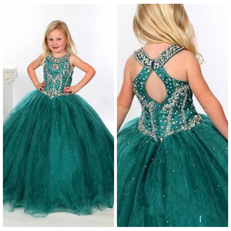 Dark Green Ball Gowns Beaded Crystals Flower Girls Dresses Scoop Neckline Long Floor Length Kids Formal Pageant Gowns 2019