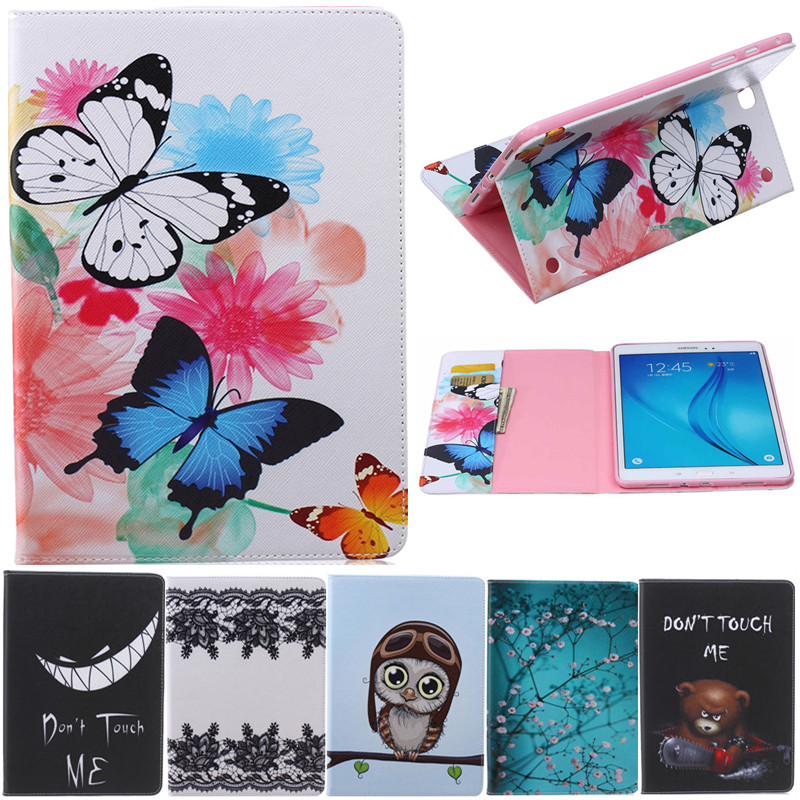 Butterfly Owl Cartoon PU Leather Flip Stand Cover Cases For Samsung Galaxy Tab A 9.7 SM-T550 T551 T555 Tablet Cover Case Fundas