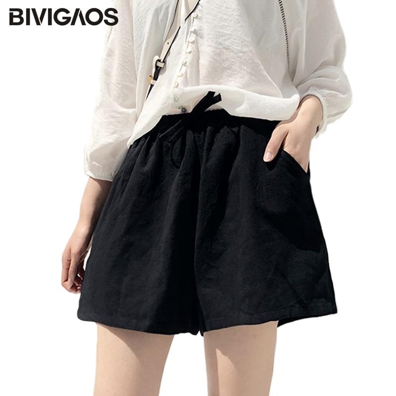 BIVIGAOS Summer Women Cotton Linen Shorts Black Casual Loose Wide Leg Shorts Drawstring High Waist Short For Women Culotte